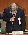 June 8, 2012, Tokyo, Japan - Masataka Shimizu, former president of Tokyo Electric Power Co., speaks at the start of a meeting Friday, June 8, 2012, of the Diet-appointed panel investigating the Fukushima Daiichi nuclear power plant disaster during its session in Tokyo on Friday, June 08, 2012...Shimizu, who stepped down in June last year to take responsibility for the calamity, has stirred controversy over what the government regarded as a proposal to withdraw all workers from the crippled plant operated by the utility in the early days of the nuclear crisis. Three of the six reactors at the plant suffered meltdowns following the devastating earthquake and tsunami on March 11, 2011. (Photo by Natsuki Sakai/AFLO) AYF -mis-.