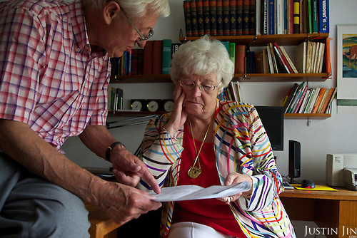Gerda Windgasse, 72, and her husband Karel Broeckx looking at her euthanasia document at home in Belgium. <br /> <br /> Ms Windgasse is a bubbly retired secretary who&rsquo;s planning to end her life in the coming years by euthanasia. <br /> <br /> She has a still-mild case of Alzheimer&rsquo;s, and when she decides she&rsquo;s deteriorated enough, she intends to gather her family and receive a lethal injection.