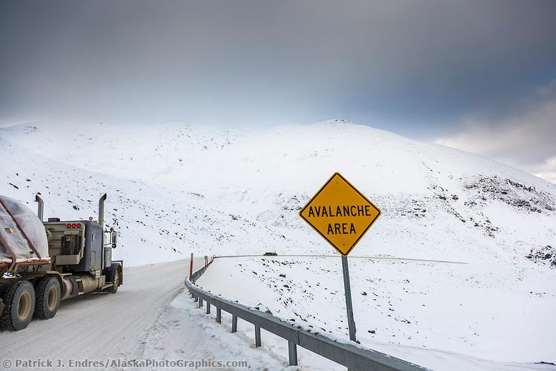 Avalanch sign in Atigun pass, James Dalton Highway, Arctic, Alaska.