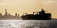 Container ship entering Auckland Harbour at dusk.