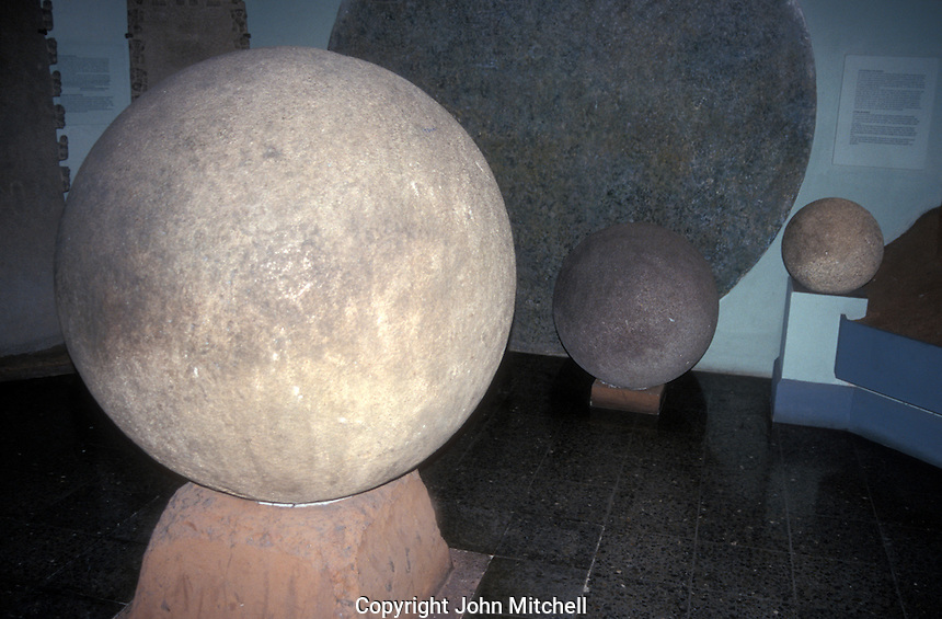 Pre-Columbian stone spheres from the Diquis region of Costa Rica on display in the Museo Nacional de Costa Rica in San Jose. No one knows how these mysterious stone spheres were carved or what their purpose was.