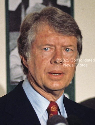 Governor Jimmy Carter (Democrat of Georgia) a candidate for the 1976 Democratic nomination for President of the United States, makes a campaign appearance in Baltimore, Maryland on May 13, 1976.  <br /> Credit: Arnie Sachs / CNP