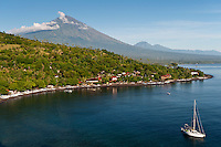 Amed and Jemeluk are in NW Bali, close to Mt Agung.  This stratovolcano is still active and last erupted in 1964.  The Amed area offers a quiet alternative to Bali's busy south and has good reefs, particularly around Gili Selang. Bali is a very popular holiday destination for divers and offers a wide variety of different types of diving, from reefs and wrecks to mucks sites such as Puri Jati and Gilimanuk.