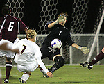7 November 2007: Boston College goalkeeper Sarah Buonomo (1) saves a shot from Florida State's Katrin Schmidt (7). Florida State University defeated Boston College 1-0 at the Disney Wide World of Sports complex in Orlando, FL in an Atlantic Coast Conference tournament quarterfinal match.