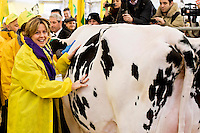 Roma 6 Febbraio 2015<br /> Manifestazione in Campidoglio, per &laquo;difendere il latte italiano&raquo;, organizzato dalla Coldiretti, e l&rsquo;Associazione italiana allevatori che  hanno portato le  mucche  nelle piazze italiane per sensibilizzare opinione pubblica e istituzioni sulla crisi del settore lattiero-caseario. Il ministro della Salute, Beatrice Lorenzin, con la mucca della Coldiretti<br /> Rome February 6, 2015<br /> Demostration  at the Capitol, to &quot;defend the Italian milk&quot;, organized by Coldiretti, and the Association of Italian farmers who brought the cows in the Italian squares to sensitize public opinion and institutions on the crisis of the dairy sector. The Minister of Health, Beatrice Lorenzin with his cow of the Coldiretti
