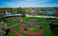 LEXINGTON, KENTUCKY - APR 07: Horses are walked in the paddock area before an undercard race on opening day at Keeneland Race Course on April 7, 2017 in Lexington, Kentucky. (Photo by Scott Serio/Eclipse Sportswire/Getty Images)