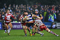 Alafoti Fa'osiliva of Bath Rugby takes on the Gloucester defence. Aviva Premiership match, between Bath Rugby and Gloucester Rugby on February 5, 2016 at the Recreation Ground in Bath, England. Photo by: Patrick Khachfe / Onside Images