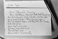 June 1970, Brookline, Massachusetts, <br /> An index card listing John F. Kennedy's childhood illnesses and health information is on display at the J.F. Kennedy Birthplace Historic Site, the three story house in Brookline in which US President Kennedy was born. After JFK's death, the Kennedy family bought back the house at 83 Beals Street from the then owners and turned it into a museum of the Kennedys' childhoods.