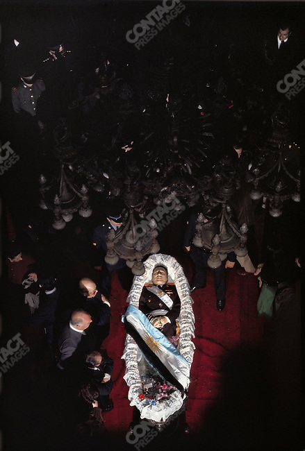 Argentine President Juan Peron, lying in state at the Capitol building of Congress. Buenos Aires, Argentina, July 2, 1974