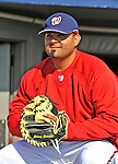 15 March 2008: Washington Nationals' catcher Johnny Estrada watches batting practice prior to a Spring Training game against the Los Angeles Dodgers at Space Coast Stadium, in Viera, Florida...Mandatory Photo Credit: Ed Wolfstein Photo