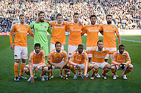 The Houston Dynamo lines up before the game at PPL Park in Chester, PA.  Houston defeated Philadelphia, 2-1, to take home the one goal advantage in the home and home series..