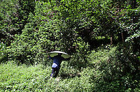 A man carries a satellite dish through  forest in Pingwu County in Sichuan Province, south-west China.