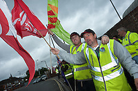Dustmen picket the main refuse depot in Southampton as part of their two week strike over new contracts.