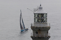 IRELAND, Fastnet Rock. 2nd July 2012. Volvo Ocean Race, Leg 9, Lorient to Galway. Team Telefonica approaches the Fastnet Rock.