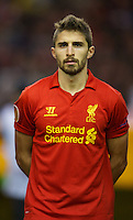 LIVERPOOL, ENGLAND - Thursday, October 4, 2012: Liverpool's Fabio Borini lines-up before the UEFA Europa League Group A match against Udinese Calcio at Anfield. (Pic by David Rawcliffe/Propaganda)