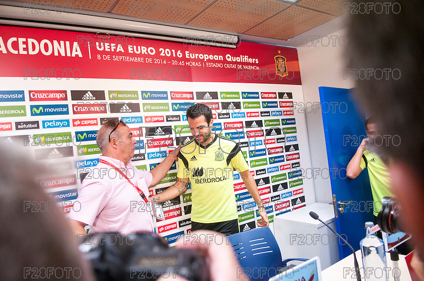 Press conference and previous training of Spanish soccer team for match Spain - Macedonia