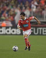 SL Benfica forward Javier Saviola (30) brings the ball forward. SL Benfica  defeated New England Revolution, 4-0, at Gillette Stadium on May 19, 2010.