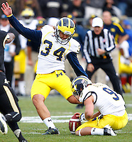 WEST LAFAYETTE, IN - OCTOBER 06: Kicker Brendan Gibbons #34 of the Michigan Wolverines kicks a field goal against the Purdue Boilermakersat Ross-Ade Stadium on October 6, 2012 in West Lafayette, Indiana. (Photo by Michael Hickey/Getty Images) *** Local Caption *** Brendan Gibbons