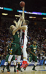North Dakota State's AJ Jacobson (21) tries to block Gonzaga's Kyle Wiltjer (33) shot during the 2015 NCAA Division I Men's Basketball Championship's March 20, 2015 at the Key Arena in Seattle, Washington.   ©2015. Jim Bryant Photo. ALL RIGHTS RESERVED.