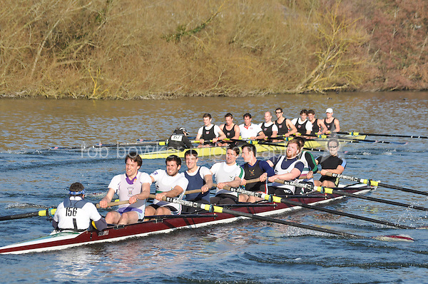 156 SEN.8+ Thames Tradesmen..Reading University Boat Club Head of the River 2012. Eights only. 4.6Km downstream on the Thames form Dreadnaught Reach and Pipers Island, Reading. Saturday 25 February 2012.