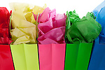 MultiColored Gift Bags with colorful tissue studio image