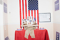 "A display titled ""The Real Deplorables"" with images of Hillary Clinton, Debbie Wasserman Schultz, and other Democratic party members is visible in the Donald Trump campaign office in Hialeah, Miami, Florida.The title is a reference to Hillary's comment during a campaign speech that half of Trump's supporters are ""deplorables."""