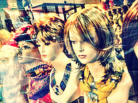 Wig shop window display in downtown Asheville, NC, iPhone photo from the archive at bcpix.com. (Photo by Brian Cleary/www.bcpix.com)