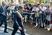 Roma 8 Settembre 2012.Commemorazione della resistenza  dell'8 settembre 1943 a Porta San Paolo a Roma..Il Sindaco di Roma Gianni Alemanno