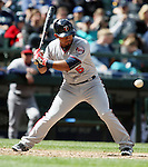 Minnesota Twins  Brian Dozier bats against the Seattle Mariners'   April 26, 2015 at Safeco Field in Seattle.  The Twins beat the Mariners beat the Angels 4--2. ©2015. Jim Bryant photo. All RIGHTS RESERVED.