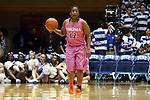 04 February 2016: Virginia's Breyana Mason. The Duke University Blue Devils hosted the University of Virginia Cavaliers at Cameron Indoor Stadium in Durham, North Carolina in a 2015-16 NCAA Division I Women's Basketball game. Both teams wore pink as part of the annual Play4Kay game in support of the Kay Yow Cancer Fund. Duke won the game 67-52.