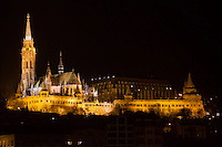 Cityscape showing Mathias Church before the Earth Hour blackout in Budapest, Hungary on March 31, 2012. ATTILA VOLGYI