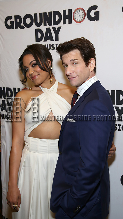 Barrett Doss and Andy Karl attends the Broadway Opening Night After Party for 'Groundhog Day' at Gotham Hall on April 17, 2017 in New York City.