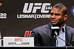 November 11, 2011; Santa Monica, CA; USA; Alistar Overeem speaks at the press conference announcing his upcoming fight against former UFC heavyweight champion Brock Lesnar.  The two will meet on December 30, 2011 in the main event at the MGM Grand Garden Arena in Las Vegas