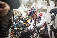 Mathieu Van der Poel (NED/Beobank-Corendon) focused at the start of the elite men's race<br /> <br /> Krawatencross Lille 2017