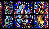 King David with his harp, from the Tree of Jesse stained glass window, in the apsidal Chapel of St Francis of Assisi, 13th century, at the Basilique Cathedrale Notre-Dame d'Amiens or Cathedral Basilica of Our Lady of Amiens, built 1220-70 in Gothic style, Amiens, Picardy, France. These are the cathedral's oldest windows dating from around 1250. Amiens Cathedral was listed as a UNESCO World Heritage Site in 1981. Picture by Manuel Cohen