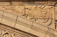 Sculptural detail of a cannon on the pediment above the entrance to the Vestibule on the Phare de Cordouan or Cordouan Lighthouse, built 1584-1611 in Renaissance style by Louis de Foix, 1530-1604, French architect, located 7km at sea, near the mouth of the Gironde estuary, Aquitaine, France. This is the oldest lighthouse in France. There are 4 storeys, with keeper apartments and an entrance hall, King's apartments, chapel, secondary lantern and the lantern at the top at 68m. Parabolic lamps and lenses were added in the 18th and 19th centuries. The lighthouse is listed as a historic monument. Picture by Manuel Cohen