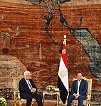 Egyptian President Abdel-Fattah El-Sisi meets Palestinian President, Mahmoud Abbas, in Cairo, Egypt on May 28, 2016. Photo by Egyptian President Office