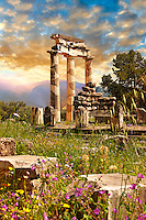 The Tholos at the sanctuary of Athena Pronaia,  a circular building with Doric columns that was constructed between 380 and 360 BC. Delphi, archaeological site, Greece,