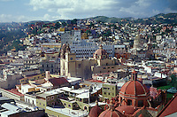 Skyline of the city of the Spanish Colonial city of Guanajuato, Mexico, from the El Pipila monument lookout. Guanajuato is a UNESCO World heritage site.