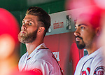 7 April 2016: Washington Nationals outfielder Bryce Harper watches play from the dugout during the Nationals' Home Opening Game against the Miami Marlins at Nationals Park in Washington, DC. The Marlins defeated the Nationals 6-4 in their first meeting of the 2016 MLB season. Mandatory Credit: Ed Wolfstein Photo *** RAW (NEF) Image File Available ***