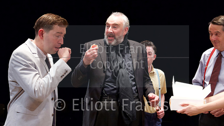Orson&rsquo;s Shadow by Austin Pendleton<br /> at Southwark Playhouse, London, Great Britain <br /> press photocall <br /> 1st July 2015 <br /> <br /> Edward Bennett as Kenneth Tynan<br /> John Hodgkinson as Orson Welles<br /> Ciaran O&rsquo;Brien as Sean<br /> Adrian Lukis as Laurence Olivier<br /> <br /> <br /> <br /> Photograph by Elliott Franks <br /> Image licensed to Elliott Franks Photography Services