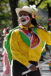 The Hispanic Parade in New York City. A man with a painted face and a hat and representing Puerto Rico in the Hispanic Parade in New York City.