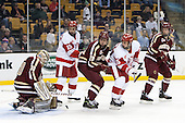 Thatcher Demko (BC - 30), Robbie Baillargeon (BU - 19), Scott Savage (BC - 28), Nick Roberto (BU - 15), Michael Matheson (BC - 5) - The Boston College Eagles defeated the Boston University Terriers 3-1 (EN) in their opening round game of the 2014 Beanpot on Monday, February 3, 2014, at TD Garden in Boston, Massachusetts.