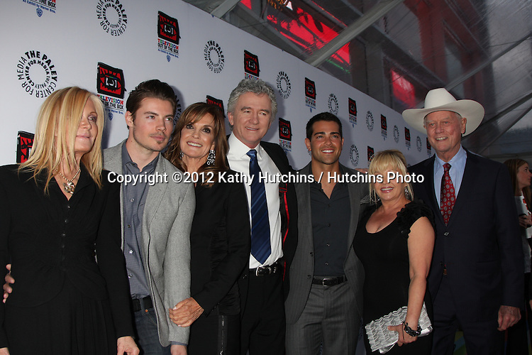 LOS ANGELES - APR 12:  Joan VanArk, Josh Henderson, Linda Gray, Patrrick Duffy, Jesse Metcalfe, Charlene Tilton, Larry Hagman arrives at Warner Brothers &quot;Television: Out of the Box&quot; Exhibit Launch at Paley Center for Media on April 12, 2012 in Beverly Hills, CA
