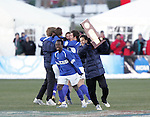 3 December 2006: UCSB players celebrate with the NCAA Championship Trophy immediately following the final whistle. California-Santa Barbara defeated California-Los Angeles 2-1 at Robert R. Hermann Stadium in St. Louis, Missouri in the NCAA men's college soccer tournament final game to win the 2006 NCAA Championship.
