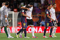 02/09/2012 - Liga Football Spain, FC Barcelona vs. Valencia CF Matchday 3 - ex team mates Rami and Jordi Alba chat after the end of the game