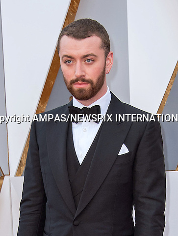 28.02.2016; Hollywood, California: 88th OSCARS - SAM SMITH<br /> attend the 88th Annual Academy Awards at the Dolby Theatre&reg; at Hollywood &amp; Highland Center&reg;, Los Angeles.<br /> Mandatory Photo Credit: &copy;Ampas/Newspix International<br /> <br /> PHOTO CREDIT MANDATORY!!: NEWSPIX INTERNATIONAL(Failure to credit will incur a surcharge of 100% of reproduction fees)<br /> <br /> IMMEDIATE CONFIRMATION OF USAGE REQUIRED:<br /> Newspix International, 31 Chinnery Hill, Bishop's Stortford, ENGLAND CM23 3PS<br /> Tel:+441279 324672  ; Fax: +441279656877<br /> Mobile:  0777568 1153<br /> e-mail: info@newspixinternational.co.uk<br /> All Fees To: Newspix International