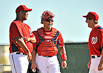 19 February 2011: Washington Nationals' catcher Ivan Rodriguez (center) laughs with Manager Jim Riggleman (right) and pitcher Livan Hernandez during Spring Training at the Carl Barger Baseball Complex in Viera, Florida. Mandatory Credit: Ed Wolfstein Photo