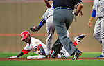21 June 2010: Washington Nationals center fielder Nyjer Morgan is caught stealing in the first inning against the Kansas City Royals at Nationals Park in Washington, DC. The Nationals edged out the Royals 2-1 to take the first game of their 3-game interleague series and snap a 6-game losing streak. Mandatory Credit: Ed Wolfstein Photo