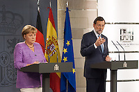 Mariano Rajoy and Angela Merkel at Moncloa